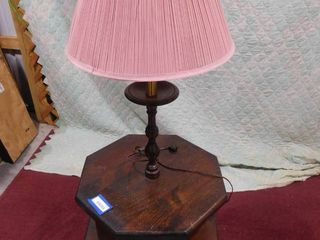 End table with built in lamp 57 in H X 20 in W X 20 in l
