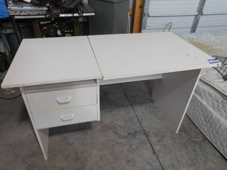 White adjustable heights drafting desk with 2 drawers 28 1 2 in H X 47 1 2 in W X 23 1 2 in l