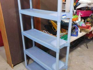 Blue 5 tier plastic storage 72 in H