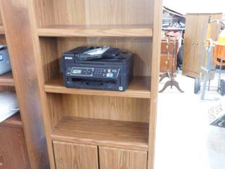 3 tiered wooden shelf with cabinet on bottom 71 1 2 in H 29 1 2 in W X 11 1 2 in D