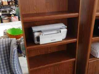 3 tiered wooden shelf with cabinet on bottom 71 1 2 in H 28 in W X 12 in D