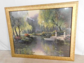 Boat on lake painting with beautiful nature scenery 31 1 2 in W X 25 1 2 in H