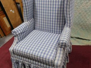 Blue checkered wing back upholstered chair 44 in H X 30 1 2 in l 29 in W