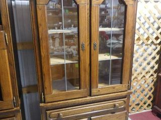 legends lighted wood storage cabinet with glass doors 3  keys 38 in W X 77 in H X 20 1 2 in D  cord needs repaired