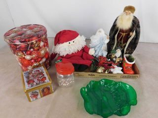 lot of Christmas decor including 3 Santa Claus figurines  table decor and bins