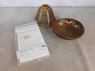 lot of misc  items including wooden bowl  Mantel table cover and heavy wooden and glass lamp shade