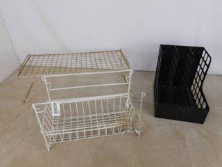 Wire storage organizers and plastic shelf divider