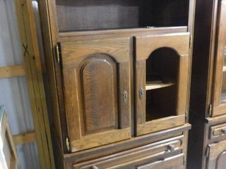 legends lighted wood storage cabinet with wooden doors 2  keys 38 in W X 77 in H X 20 1 2 in D  cord needs repaired