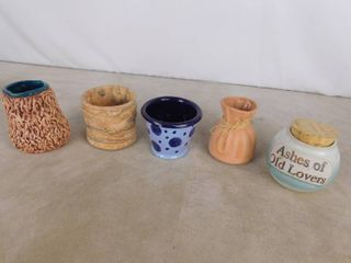 lot of 5 assorted small clay pottery vases