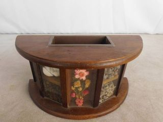 Decorative wooden office supply holder with open back