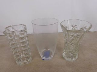 3 assorted tall glass vases all between 10 in to 11 in