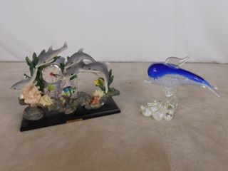 2 glass dolphin figurines one has a clock built in