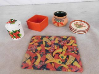 lot of misc  home decor including jar  vase  coasters and cutting board