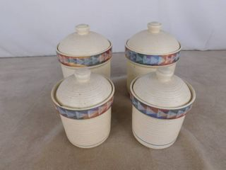 Treasure craft Horizon canister 4 piece set  1  canister has chip around lid see pics