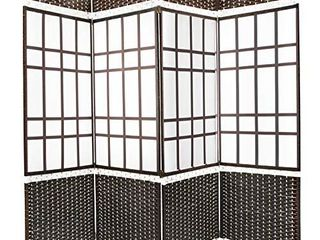 Belvadora Room Divider Screen   Handmade 4 Panel Wood Mesh Black   White Woven Design   Folding Portable Partition Privacy Screen Room Separator