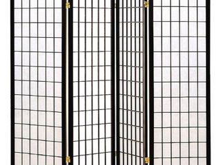 Coaster Oriental Style 4 Panel Room Screen Divider  Black Framed