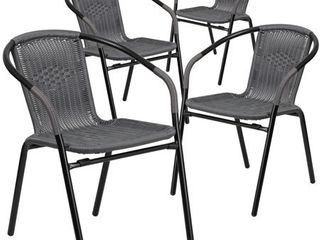 Flash Furniture 4 Pk  Gray Rattan Indoor Outdoor Restaurant Stack Chair