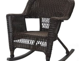 Jeco W00201R A Two Espresso Rocker Wicker Chair And Table