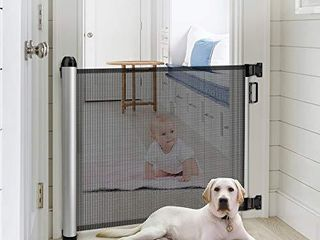 Baby Safety Gate  Minkind Extension Extra Wide Child Gate Indoor Outdoor Retractable Gate for Doorways  Stairs  Doors  34 6  Tall  Extends up to 48  Wide  Black