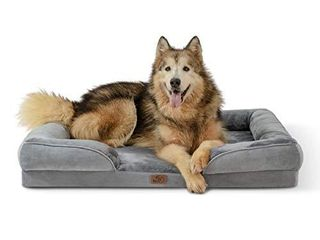 Bedsure Orthopedic Dog Bed  Bolster Dog Beds for Extra large Dogs   Foam Sofa with Removable Washable Cover  Waterproof lining and Nonskid Bottom Couch