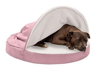 Furhaven Pet Dog Bed   Cooling Gel Memory Foam Orthopedic Round Cuddle Nest Faux Sheepskin Snuggery Blanket Pet Bed with Removable Cover for Dogs and Cats  Pink  35 Inch