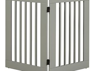 BarkWood Freestanding Wood Pet Gate   2 Panel Expansion   large   36 H   Grey Finish