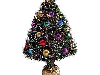 HOlIDAY PEAK Northwoods Greenery Fiber Optic Christmas Tree with Ball Ornaments  32 in  Tall