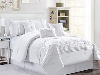 Chezmoi Collection Grace 7 Piece White Floral Chenille Embroidered Pleated Striped Comforter Set  Queen