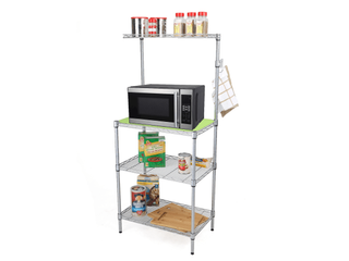 Mind Reader 3 Tier Microwave Shelf Counter Unit with Hooks  Silver