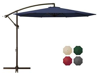 DOMICARE 10ft Offset Hanging Patio Umbrella with 8 Ribs  Outdoor Market Umbrella Easy Tilt Adjustment  Cantilever Umbrella for Backyard  Poolside  lawn and Garden  Navy