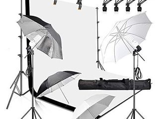 Emart 400W 5500K Daylight Umbrella Continuous lighting Kit  8 5x10ft Background Support System with 2 Muslin backdrops  Black and White  for Photo Studio Product  Portrait and Video Shoot Photography