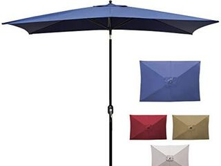 Blissun 10  Rectangular Patio Umbrella Outdoor Market Table Umbrella with Push Button Tilt and Crank  Grey