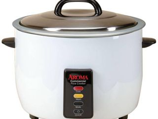 Aroma 60 Cup  Cooked  Commercial Rice Cooker  White