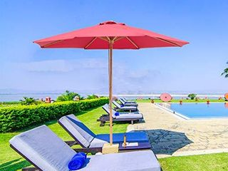 SUNBRANO 9ft Bamboo Outdoor Patio Umbrella Market Backyard Table Umbrella Pulley lift  8 Ribs  Red
