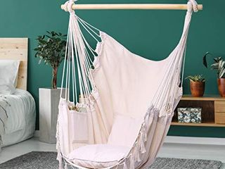 Y STOP Hammock Chair Hanging Rope Swing  Max 330 lbs  2 Cushions Included  large Macrame Hanging Chair with Pocket  Quality Cotton Weave for Superior Comfort  Durability  Beige