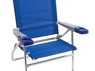 Rio Brands Beach 15  Extended Height 4 Position Folding Beach Chair  Blue  SC615 28 1