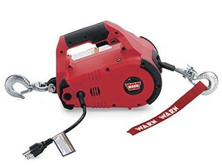 WARN 885000 PullzAll Corded 120V AC Portable Electric Winch with Steel Cable  1 2 Ton  1 000 lb  Pulling Capacity