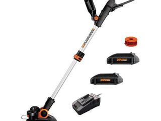 Worx 12 in  20 Volt Max lithium Ion Cordless Grass Trimmer Edger with 2 2 0Ah Batteries amd 1 2Amp Charger