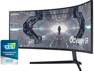 Samsung   Odyssey G9 49  lED Curved QHD FreeSync and G SYNC Compatible QlED Monitor with HDR   Black White