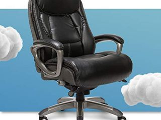 Serta Executive Office Chair with Smart layers Technology  leather and Mesh Ergonomic Computer Chair with Contoured lumbar and ComfortCoils  Black and Gray