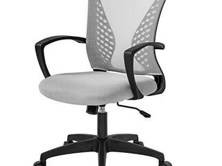 Home Office Chair Mid Back PC Swivel lumbar Support Adjustable Desk Task Computer Ergonomic Comfortable Mesh Chair with Armrest  Grey