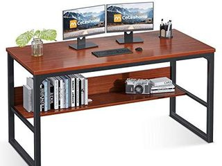 Coleshome Computer Desk with Bookshelf  47  Office Desk with Storage  Super Sturdy Writing Desk for Home Office  Teak