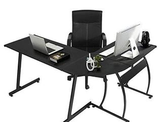 GreenForest l Shaped Gaming Computer Desk 58 1 l Shape Corner Gaming Table Writing Studying PC laptop Workstation for Home Office Bedroom Black