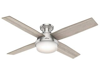 Hunter 52  Dempsey Brushed Nickel Ceiling Fan with light Kit and Remote