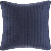 The Curated Nomad Camella Navy Cotton Quilted Euro Sham   Navy