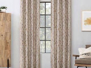 Celina Organic leaf Semi Sheer Grommet Curtain Panel   Pecan