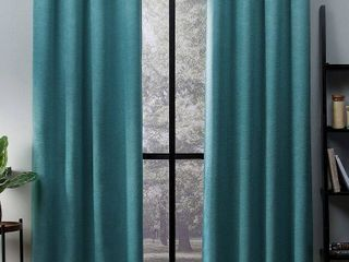 Oxford Sateen Woven Blackout Grommet Top Curtain Panel Pair   Teal