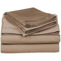 Superior Egyptian Cotton 650 Thread Count Deep Pocket Solid Bed Sheet Set Twin   Taupe