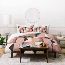 Deny Designs Pink Geometric Shapes Duvet Cover King 3 Piece Set
