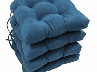 Blazing Needles16 inch U shaped Microsuede Chair Cushions Set of 4 in Indigo